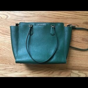 Michael Kors Dee Dee large leather tote Moss green
